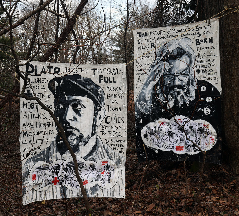 Paintings to Exhibit at the End of the World,  acrylic, cotton, stickers, graphite, coffee and mixed-media on canvas tarps hung in the woods. Adam Turl (2018-2019)