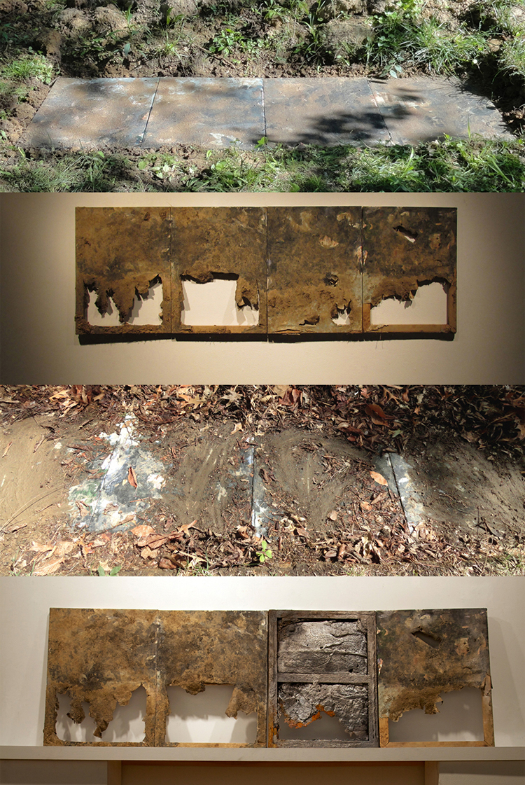 Dead Paintings no. 2 (2012-2013).  Acrylic and mixed-media paintings placed in an earth trench, exhumed, used to create an iron mold .  (Adam Turl)