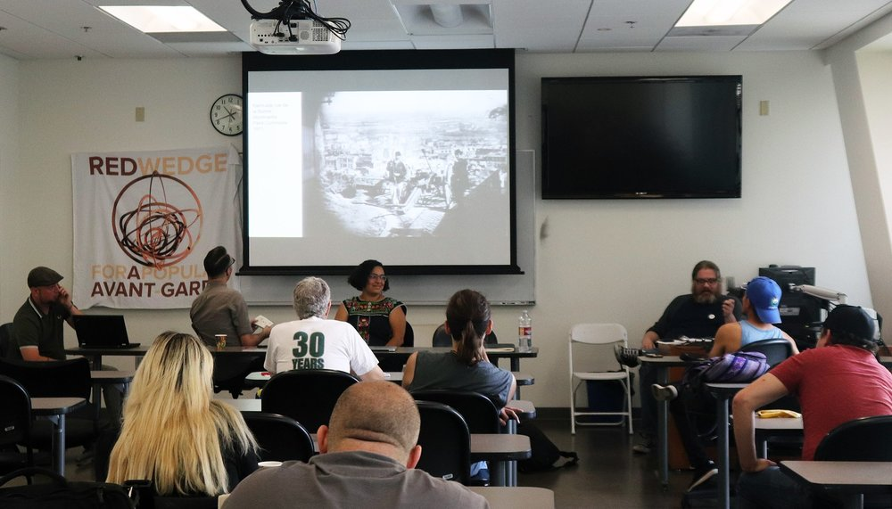 """Alexander Billet, Jason Netek, Magally Miranda-Alcazar and Adam Turl at the Red Wedge panel on """"Gentrification, Art and the Right to the City"""" at the Los Angeles Left Coast Forum (2018)"""
