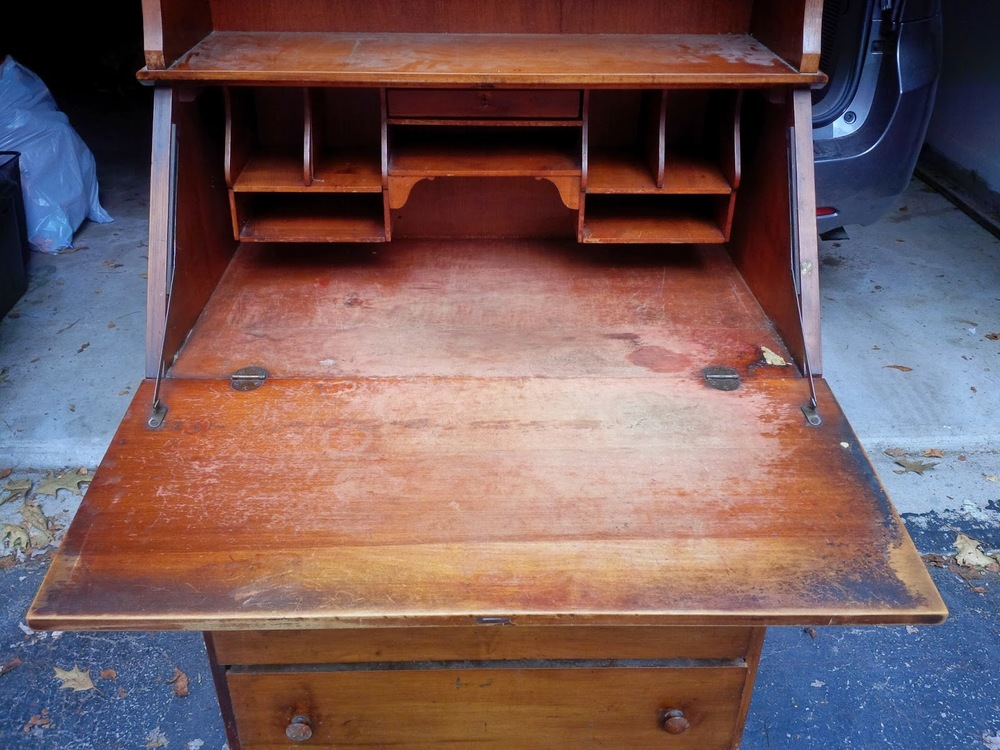 A potential customer asked if I had any secretary desks to refinish, and I  had just passed up this piece at a moving sale the day before. - No. 99 Antique Black Secretary Desk — Roots & Wings Furniture LLC