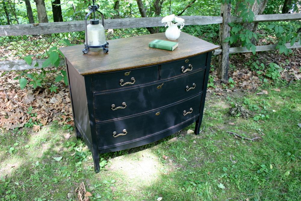 Antique Oak Dresser in Black
