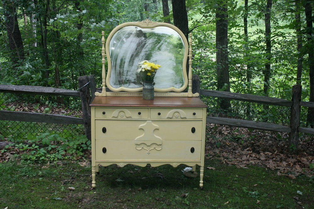 Yellow Dresser and Mirror