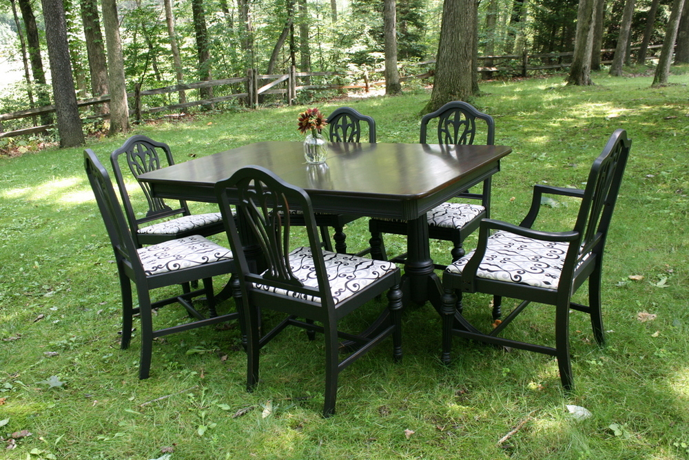 Mahogany and Black Dining Set