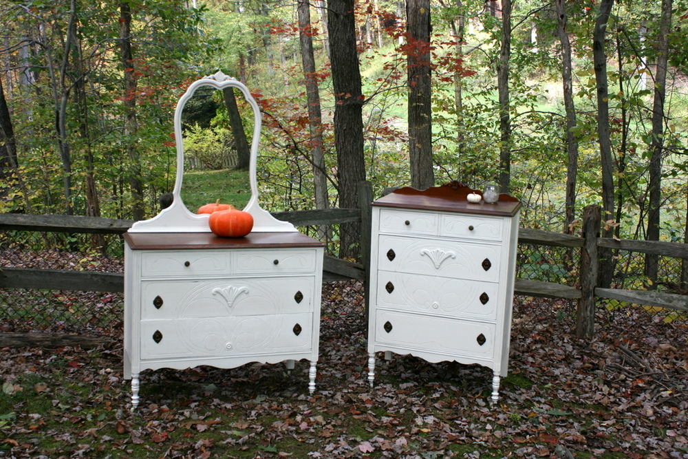 Pair of Dressers in Antique White