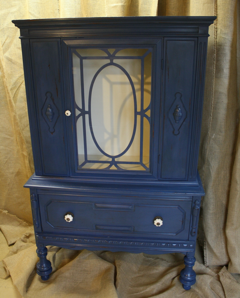70 Blue And Cream Antique Hutch U2014 Roots U0026 Wings Furniture LLC