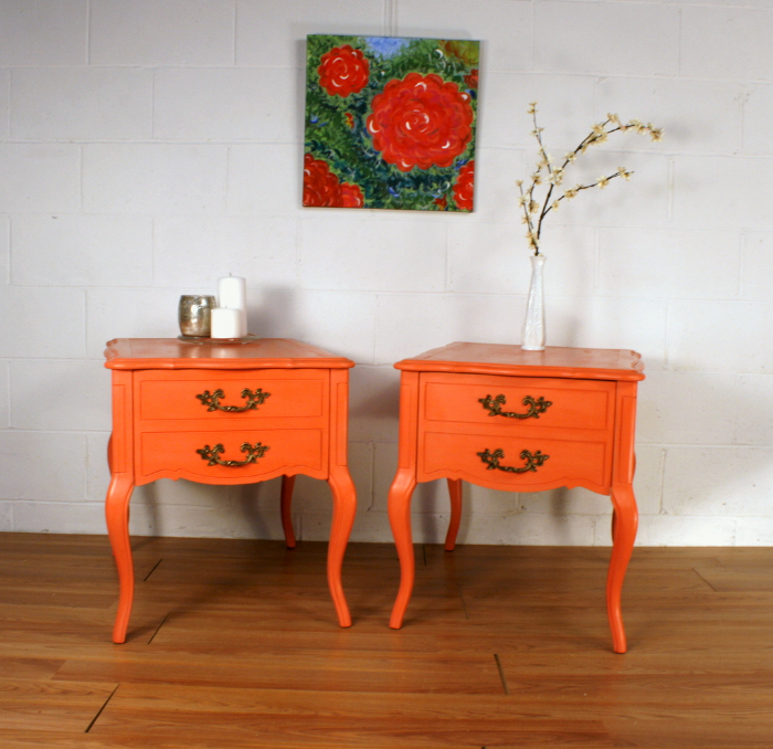 Coral French Provincial Night Stands