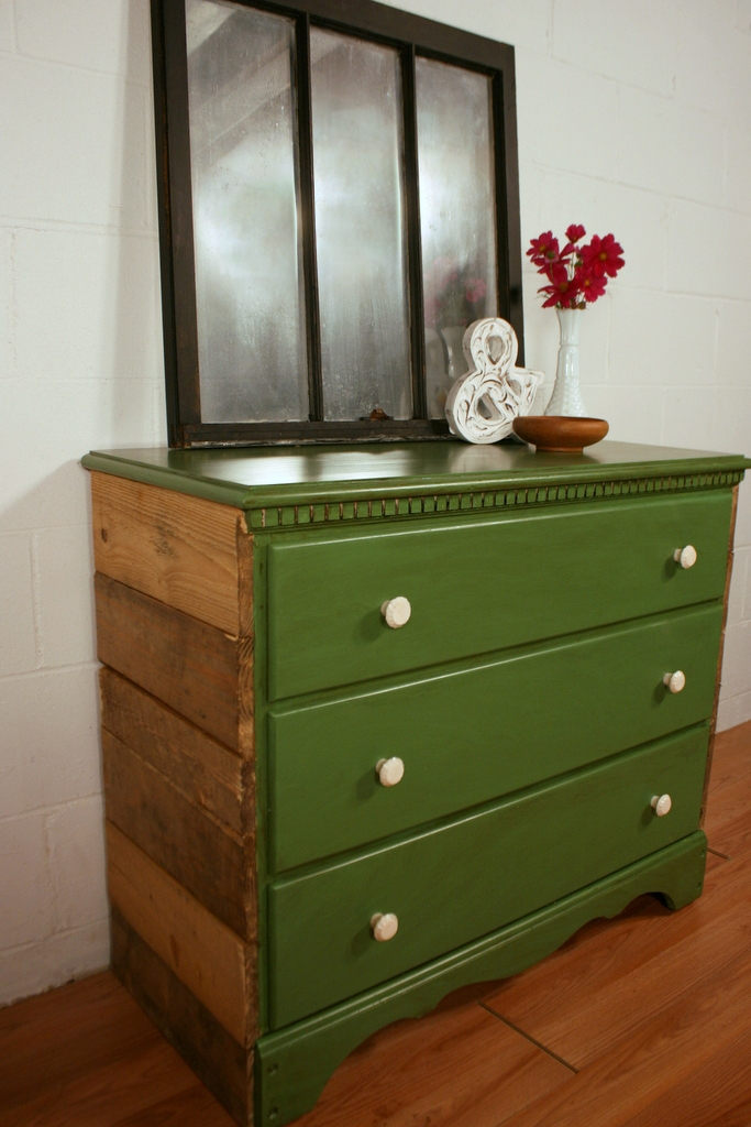 Van Dyke Brown Glaze over Lime Green + Coastal Blue Milk Paint