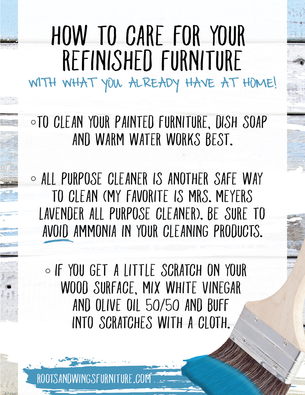 How to Care for YourRefinished Furniture Guide - Grab your downloadable copy here.