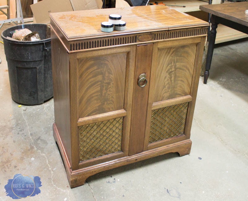 radio cabinet makeover wise owl paint drip finish roots and wings furniture -1.jpg