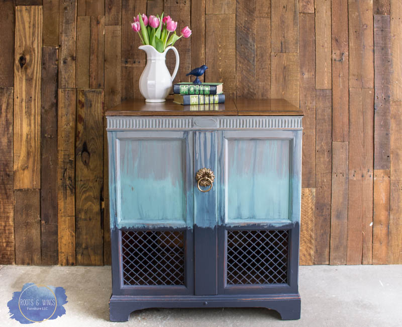radio cabinet makeover wise owl paint drip finish roots and wings furniture -2.jpg