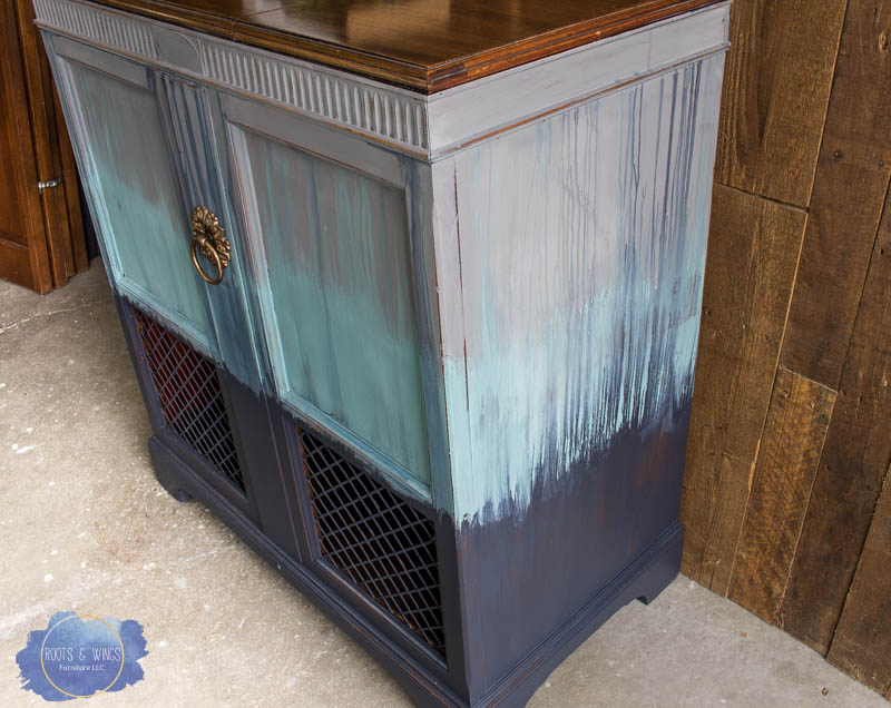radio cabinet makeover wise owl paint drip finish roots and wings furniture -3.jpg
