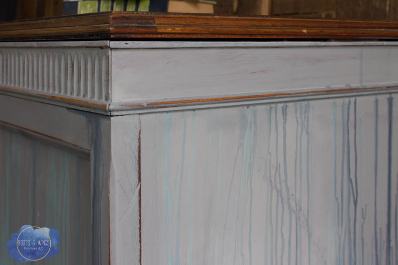 radio cabinet makeover wise owl paint drip finish roots and wings furniture -4.jpg
