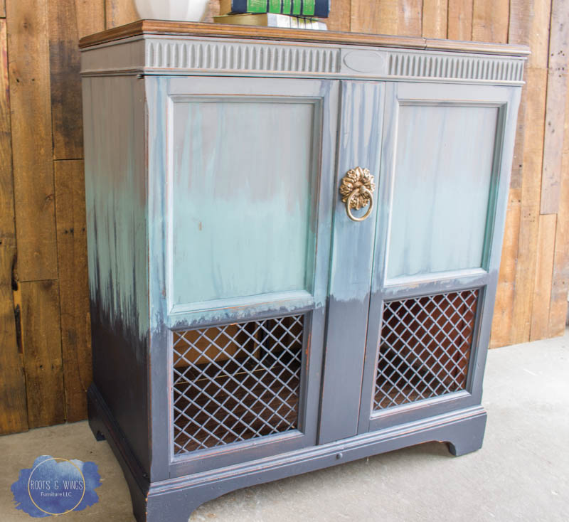 radio cabinet makeover wise owl paint drip finish roots and wings furniture -9.jpg