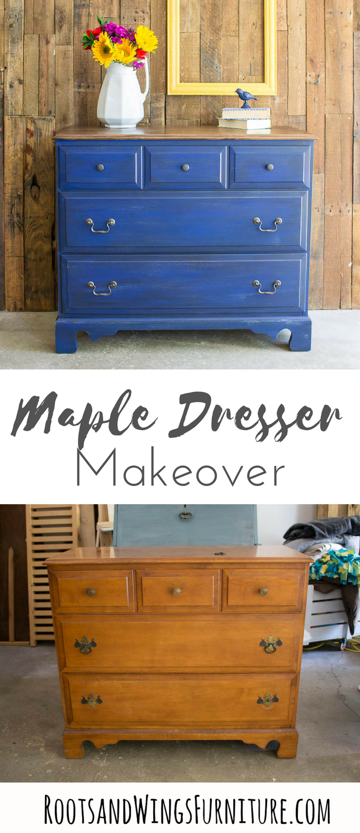 Maple Dresser Makeover _ Dark Denim Paint Tutorial by Roots and Wings Furniture _ Navy Painted Furniture Ideas _ Blue Painted Dresser #furnituremakeover #paintedfurniture.png