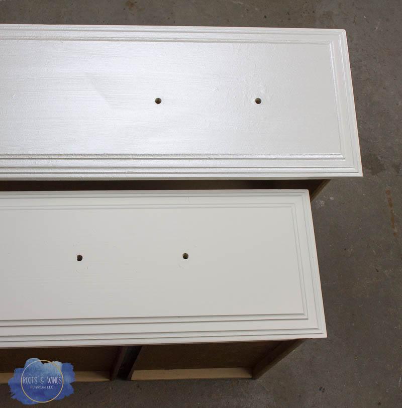 antique white metallic dresser roots and wings furniture (2 of 5).jpg - DIY Metallic Painted Furniture — Roots & Wings Furniture LLC