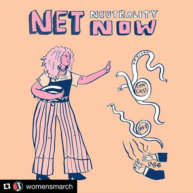 "#Repost @womensmarch ・・・ The FCC announced its plan to destroy #NetNeutrality today. Congress can still stop the FCC, but they'll only act if there's a massive public outcry. Today's #SignOfResistance by @ashlukadraws. Share it, and let your representatives know we won't stand for the Trump administration's attack on our internet freedom. Look out for a protest at a Verizon retail store near you on December 7th, exactly one week before the net neutrality vote. Together, let's #SaveNetNeutrality! . . . [IMAGE DESCRIPTION: A light peach background with bubble letters reads ""Net neutrality now"" in pink, blue, and white. Below that is an illustration of a woman with pink hair and pink skin. She has her hand up. To her right is an illustration of three snakes with the words ""Verizon"", ""Comcast"", and ""AT&T"" written alongside them. Below them is an illustration of a pair of hands and sleeves with the word ""FCC"" written between them.]"