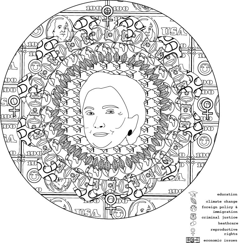 hillary: mediate on politics, 2016. coloring book illustration.