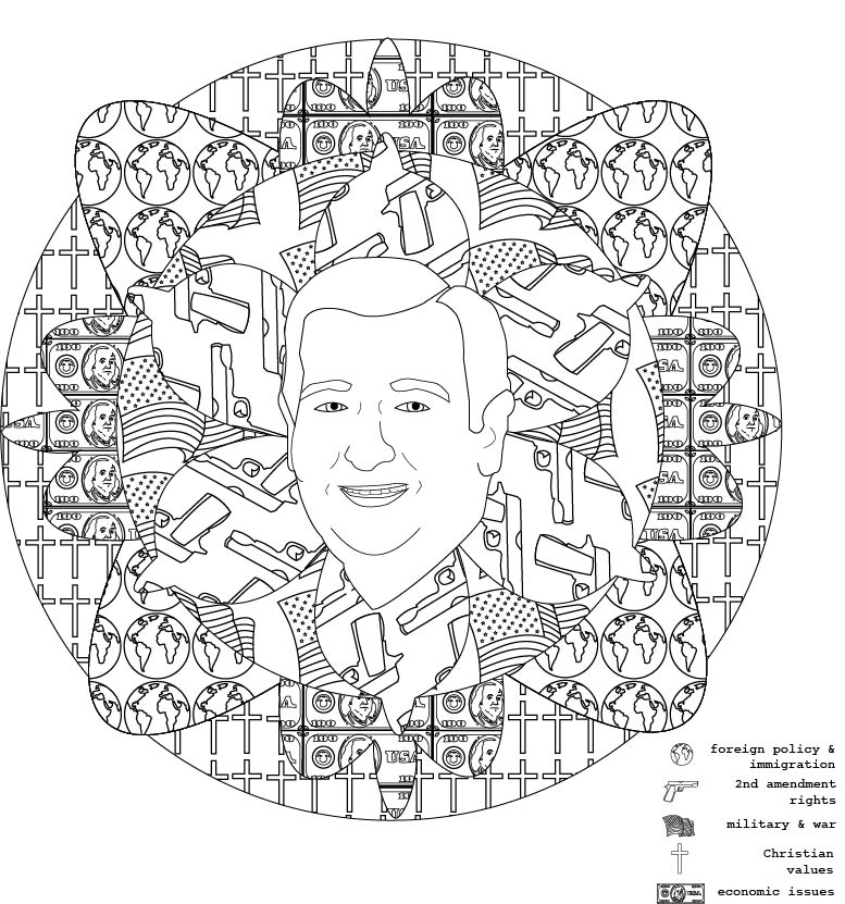 ted: mediate on politics, 2016. coloring book illustration.