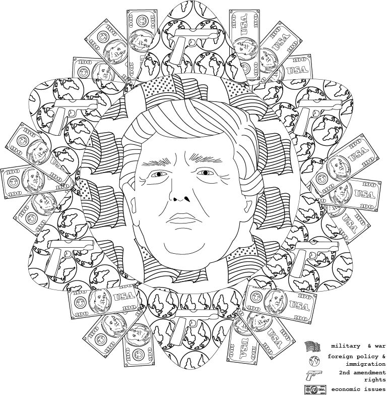 donald: mediate on politics, 2016. coloring book illustration.