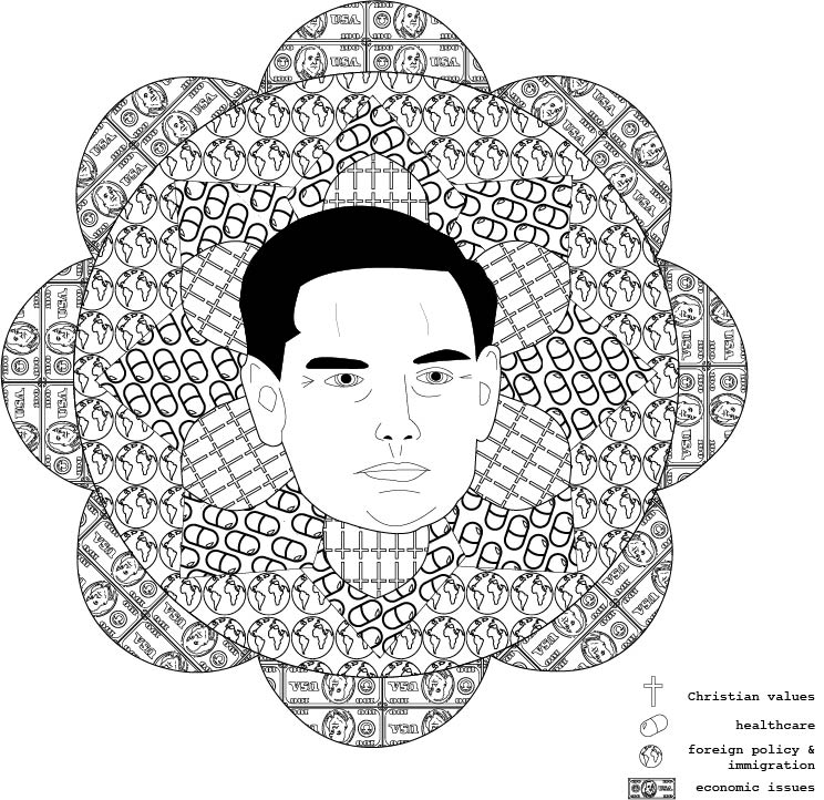marco: mediate on politics, 2016. coloring book illustration.