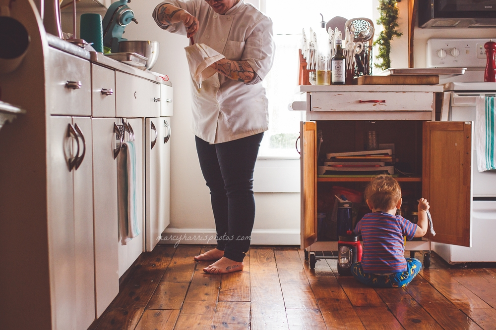 Ohio Birth & Life Photography | Marcy Harris Photos | Mom baking with her little boy playing with utensils