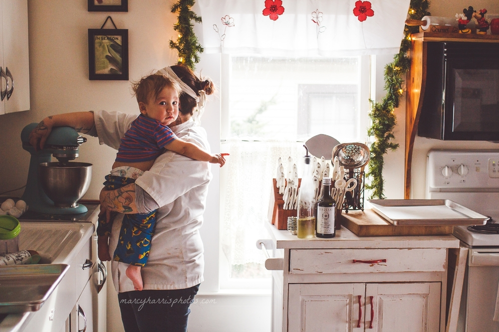 Ohio Birth & Life Photography | Marcy Harris Photos | Mom baking and holding her little boy