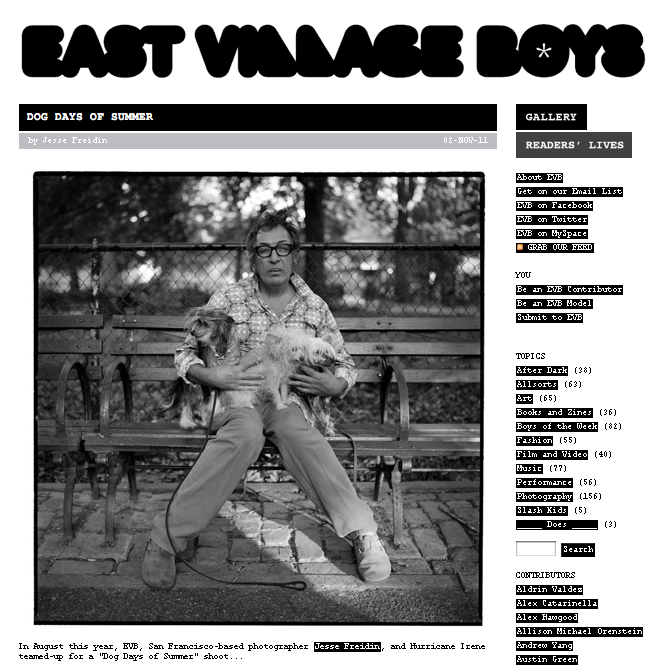 Jesse Freidin Dog Photographer featured on East Village Boys