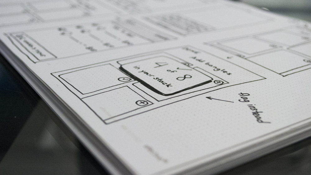 Low-fi sketch wireframes
