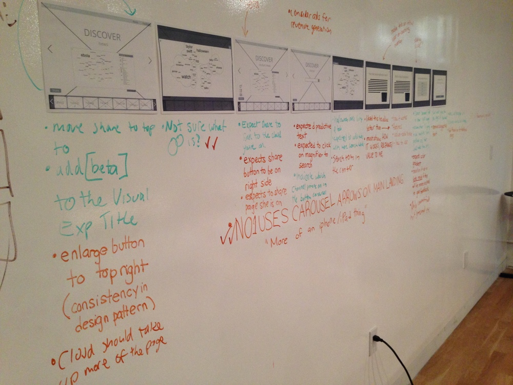 Another technique involved physically placing wireframes and comments given by users side-by-side on an office whiteboard, and going through each of them together in a team meeting. This paved the way for excellent conversations on potential iterations.