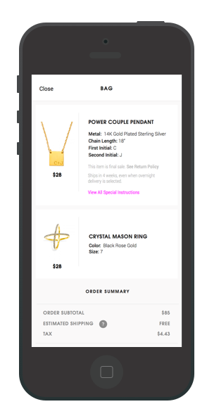 BaubleBar's checkout screen.