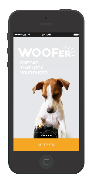 During a hackathon, I designed a dog photography app called Woofer. We won People's Choice!
