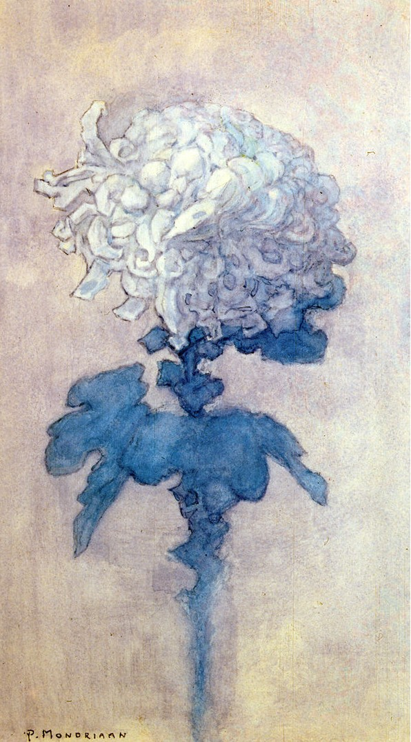 One of Piet Mondrian's flower watercolors, Chrysanthemum, 1908-09
