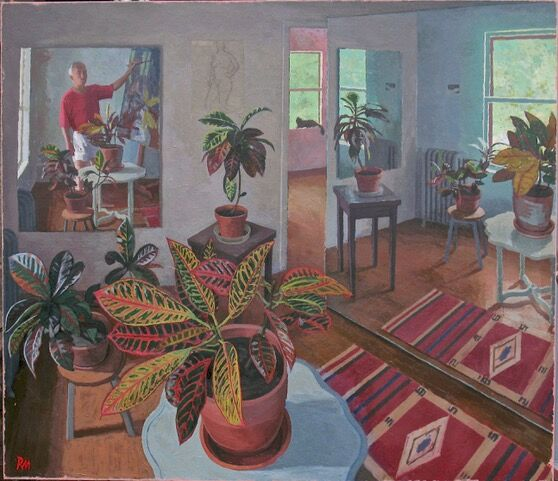 """Studio with Crotons,"" oil on canvas, 48 x 55 inches"