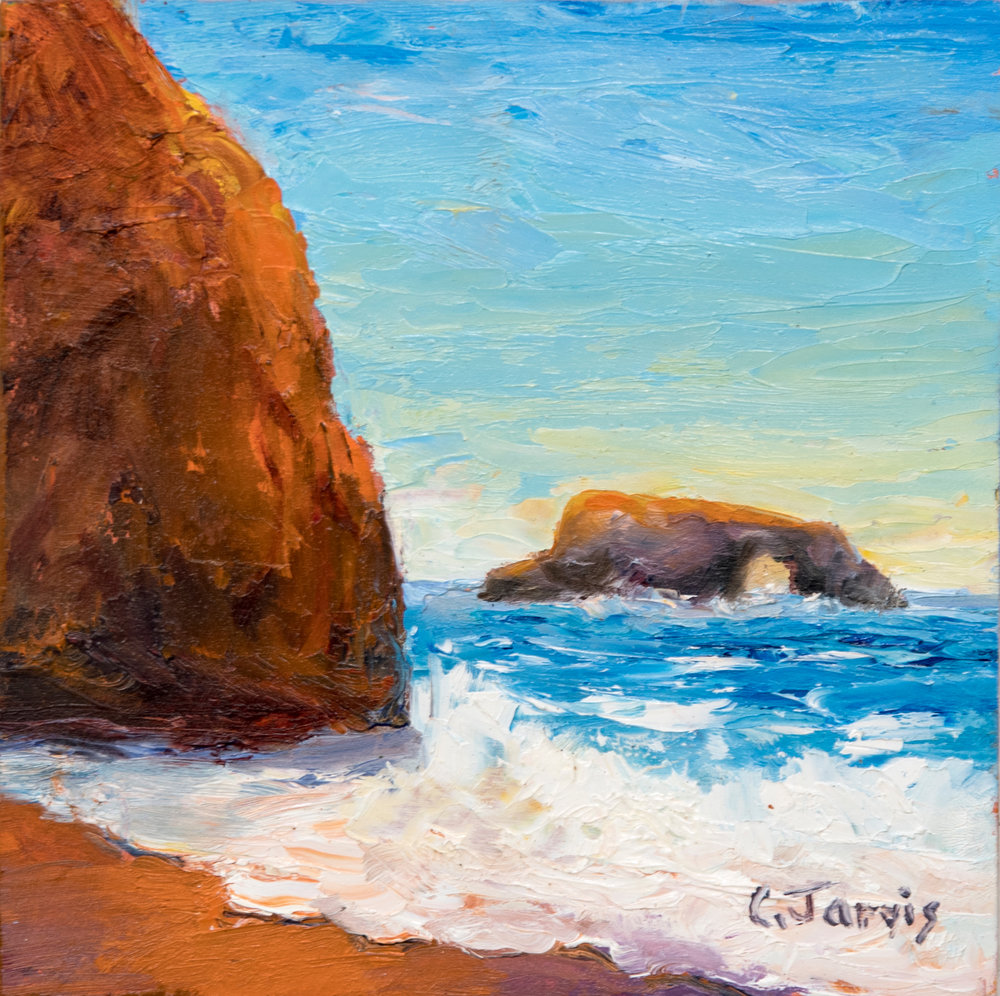 Carolyn Jarvis Painting Goat Rock