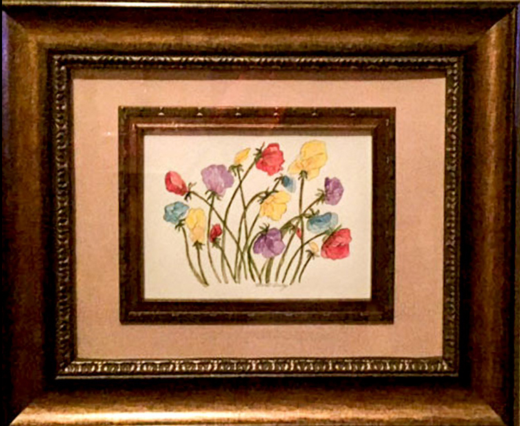 Carol Covey framed painting of flowers
