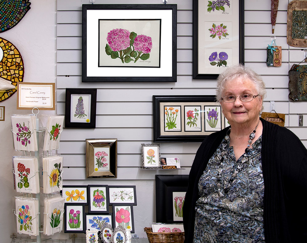 Carol Covey's watercolors are available at the Artisans' Co-op.