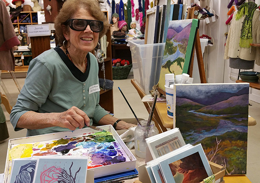 Liz Stafford's Paintings are available at the Artisans' Co-op.