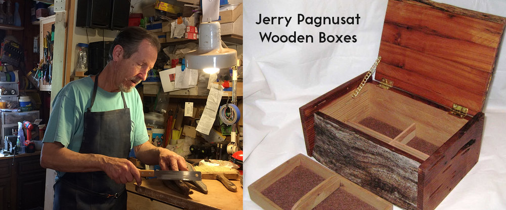 Jerry Pagnusat's wood boxes are available at the Artisans' Co-op.