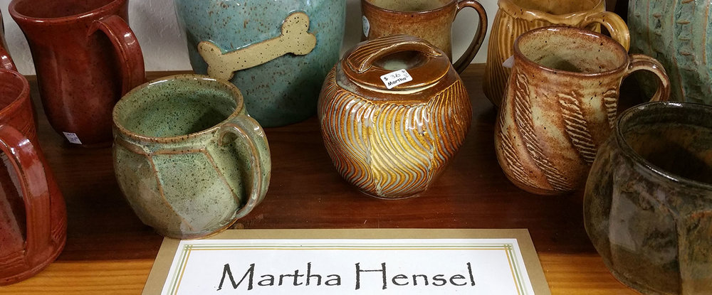 Martha Hensel Pottery available at the Artisans' Co-op.