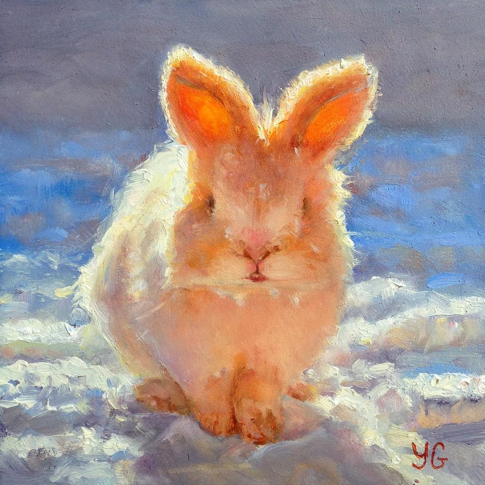 Snow bunny 5x5 Oil