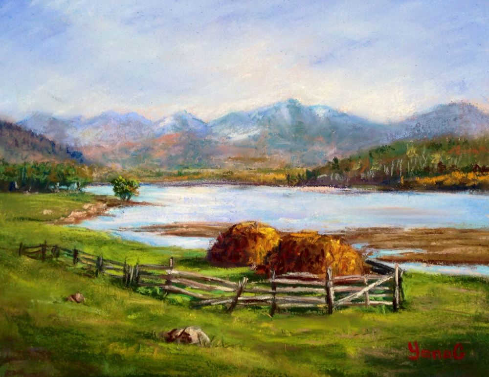Haystacks by the river 8x10 Pastel