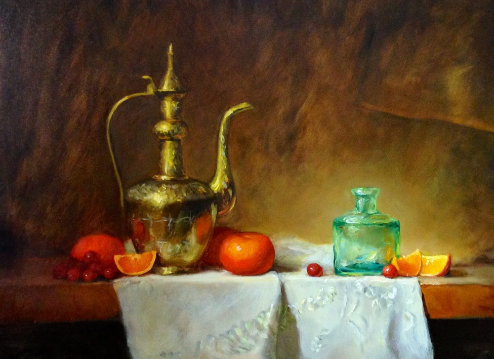 Pitcher and Mandarins 12x16 Oil on board