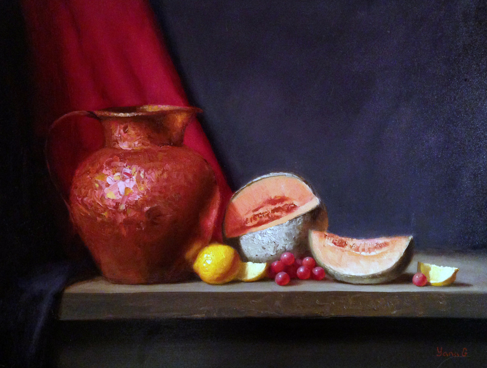 Copper pitcher and cantaloupe 14x18 Oil on board