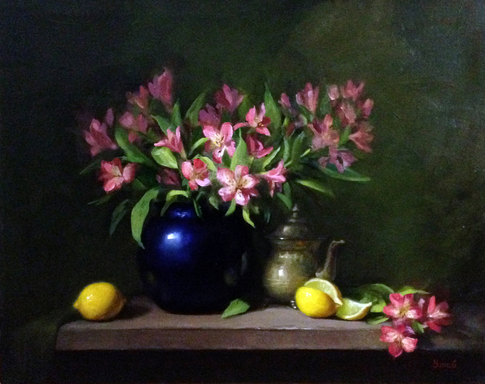 Alstroemeria and lemons 16x20 Oil on canvas