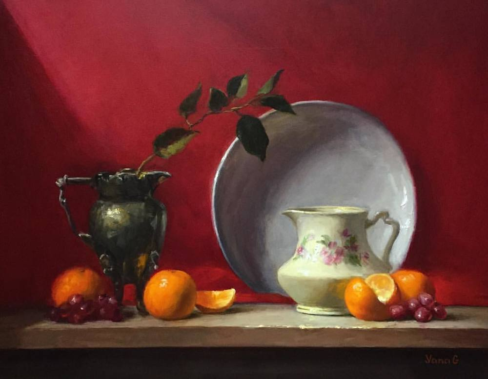 Creamer and Tangerines 14x18 Oil on board