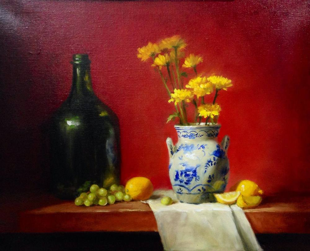 Mums and lemons 16x20 Oil on canvas Sold