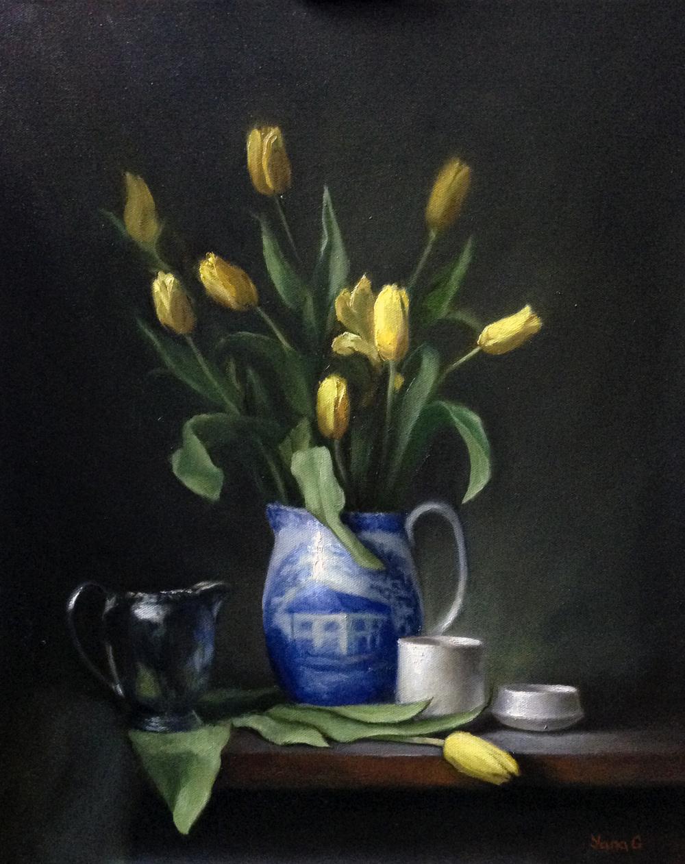 Yellow Tulips 16x20 Oil on canvas NFS