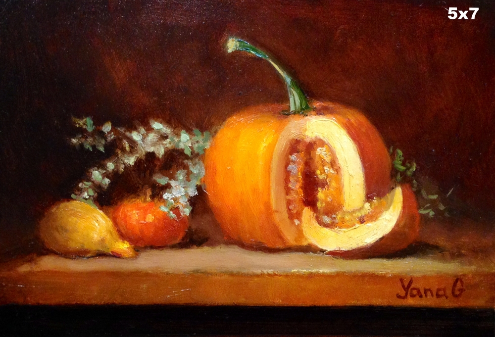 Pumpkins 5x7 Oil on board