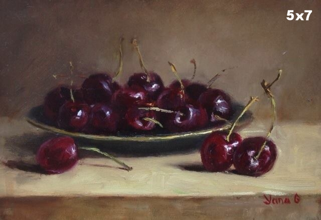 Cherries on the plate 5x7 Oil on board