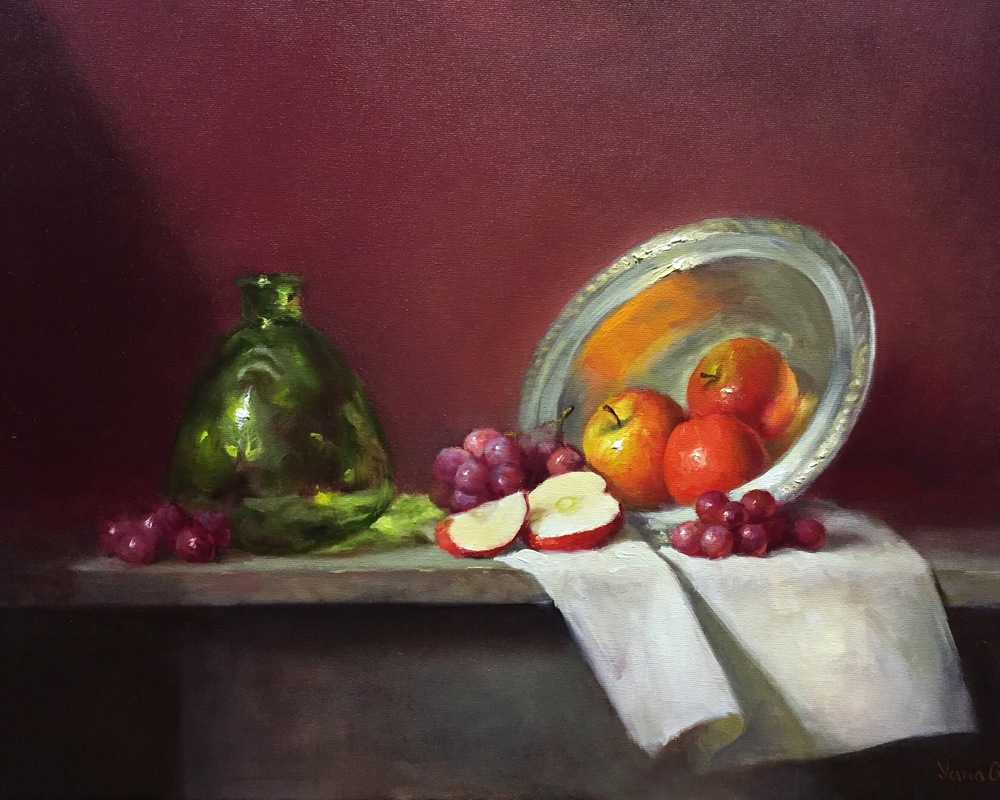 Apples and green bottle 16x20 Oil on canvas